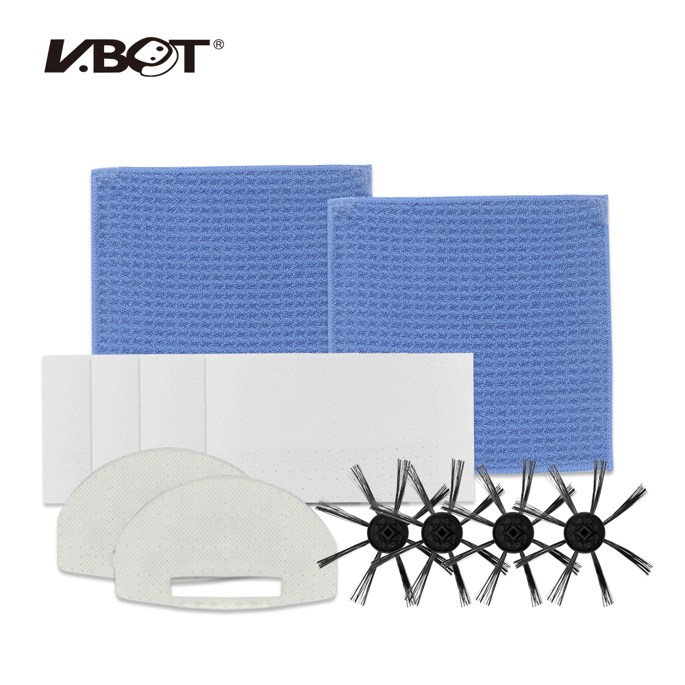 Replacement Accessories Kit of VBOT T272 Robot Vacuum Cleaner, Side Brushes x4, Filter x2, Dust Paper x3, Mopping Cloth x2  <br>