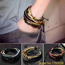 1pcs Womens Mens  Multilayer Genuine Leather Braided Bracelet Chain With Charms 4TKI