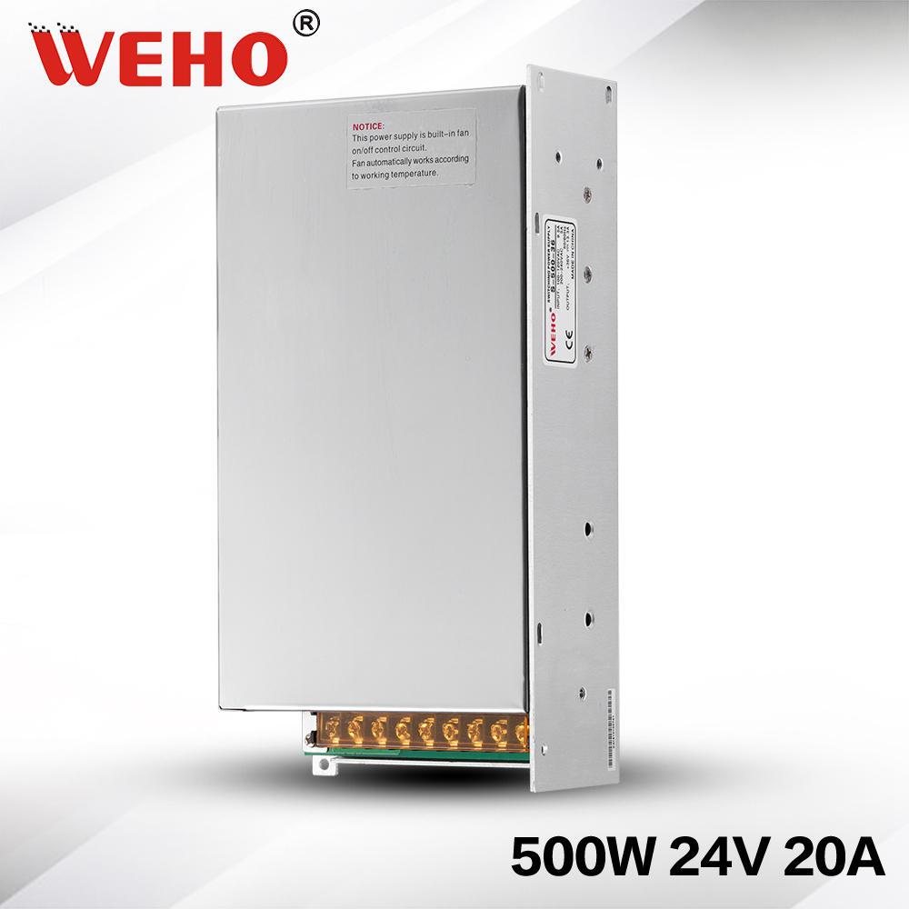 (S-500-24)Fan Cooling AC to DC 500W 24V CCTV camera power supply 20a 500w DC power supply 24v<br>