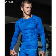 GANYANR Brand Running T Shirt Men Tennis Sportswear Tee Sport Fitness Gym Tops Slim Fit Quick Dry Exercise Tights Compression(China)
