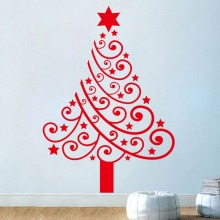 2017 Top Fashion Real Christmas Tree Star Wall Stickers Decal Living Room Kids Bedroom Home Decor Vinyl 3d Wallpaper Festive