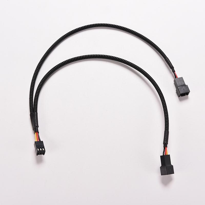 PC Case Fan 3pin to 2 x 3pin Y Cable Splitter Sleeved BLACK