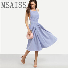 MSAISS 2017 fashion retro blue stripe dress backless elegance sexy side and a half sleeve beach skirt of tall waist OL girl