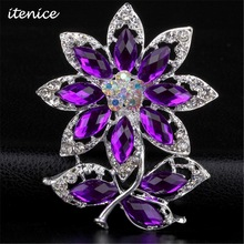 2016 Fashion Brand Brooch Jewelry High Quality Brooch Bridal Wedding Purple Crystal Rhinestone Party Brooch for Women
