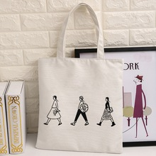 Cotton Canvas Eco Reusable Shopping Shoulder Bag Tote Letter Package Folding bags handbags Shopping Bags 32*40(China)