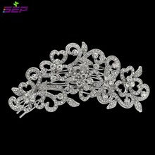 2016 Hair Combs Trendy Plant Big Long Flower Wedding Bridal Hair Comb Accessories Rhinestone Crystals Fa5028(China)
