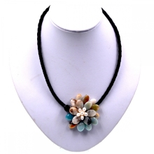 Noble Female Jewelry Natural Stone Fancy Multicolor Amazonite Beads Flower Necklace Jewelry Hot Sell(China)