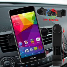 360 Rotation Car Air Vent Holder for BLU Studio X6 X5 NEO X X8 HD Pure XL Life One X ( 2016 ) Vivo 3.5~6in Screen Phone Trestle(China)
