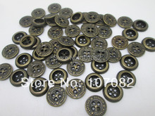 500pcs 15mm Antique Brass Buttons Metal Sewing Button Jeans Shirts Scrapbooking