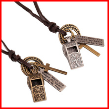 Vintage Alloy Whistle Pendant Necklace Long Leather Cord Punk Necklace Jewelry