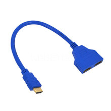 Colorful 20cm HDMI Male To Female 2 HDMI Split Double Signal Adapter Splitter Converter Cable 1 in 2 out for Video TV HDTV