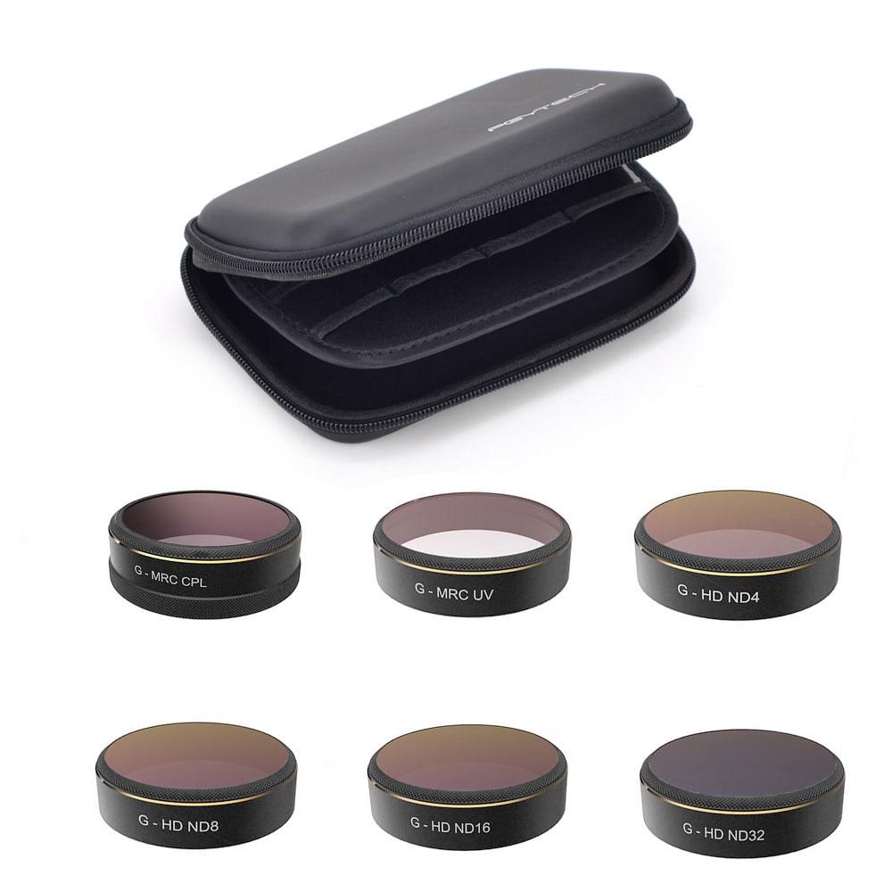 PGYTECH 6pcs UV ND4 ND8 ND16 ND32 CPL Filter Lens Star-6-Cross Lens Filter for DJI Phantom 4 Pro with Lens Case