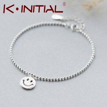 Kinitial 1Pcs 925 Silver Smile Emoji Smile Round & Lucky Beads Chain Bracelet Bangle Adjustable Charm Wrist Cuff Brcelet Jewelry