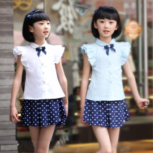 2016 spring summer girl short-sleeve white shirt student slim white waist blouse for girls clothes 6 8 10 12 years kids clothing