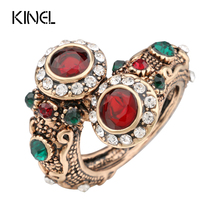 Turkish Red Rings Antique Gold Color Women's Jewelry Double Head Red Gem Stone Finger Ring Free Shipping(China)