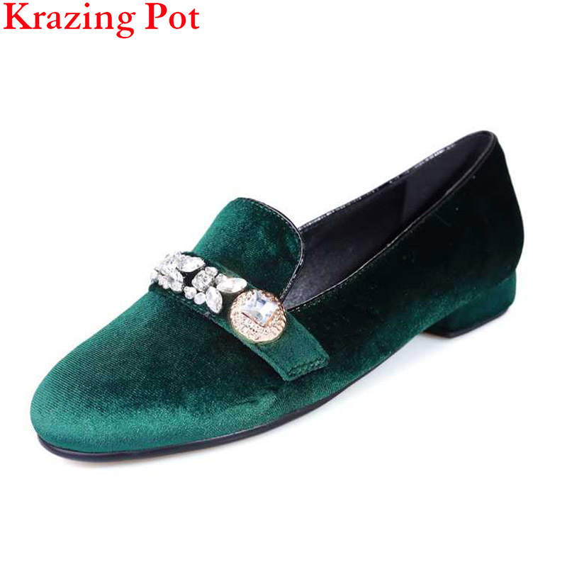 2017 Fashion Superstar Round Toe Crystal Shallow Genuine Leather Plus Size Slip on Sweet Flats Women Casual Lazy Summer Shoe L57<br>