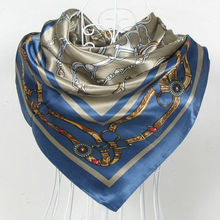 New Chain Grey Blue Silk Scarves Shawls Chain Pattern Blue Satin Polyester Big Square Scarf Printed Female Silk Scarf Wraps