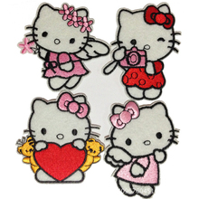 Fashion 8 Style Hello Kitty Embroidered Patch Iron On Cartoon Patches Garment DIY Appliques Accessories For kids C0
