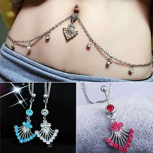 Crystal Rhinestone Flower Shape Pendant Navel Ring Belly Button Bar Waist Chain Body Piercing Jewelry