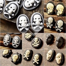 4/8/10Pcs Fashion Resin B Grade Vintage Style Skull Flat Back Cameo Cabochon For Jewelry Making Wholesale Fast Ship(China)