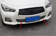 Stainless steel Front Grille Around Trim Front bumper Around Trim Racing Grills Trim for infiniti Q50 2014-2016(China)