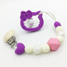 Silicone teething Hello Kitty Teether Clip ,wooden clip silicone teething pacifier necklace Hanging Toy wit hello Kitty necklack
