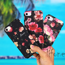 Kerzzil Hot Selling Retro Oil Painting Flower Phone Case For iPhone 7 6 6S Plus Floral Plastic Hard Peony Cover Back Capa lina