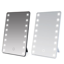 20 LEDs Light Lamp Luminous Makeup Mirror 180 Rotating Stand Square Compact Makeup Shaving Travel Mirror No Magnifying(China)