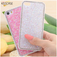 KISSCASE For iPhone 6 6s Plus Glitter Bling Rhinestone Diamond Luxury Case For iPhone 7 6 6S 5 5S Crystal Hard Back Cover Shell(China)