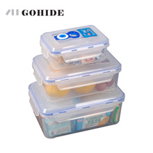 GUH Vacuum Storage Box Piece Set Rectangle Plastic Storage Box Set Sealed Box Piece Set Color Box Microwavable Food Container(China)