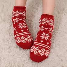 Women's autumn and winter thermal socks plus velvet thickening socks knitted floor socks towel lovely christmas sock slippers