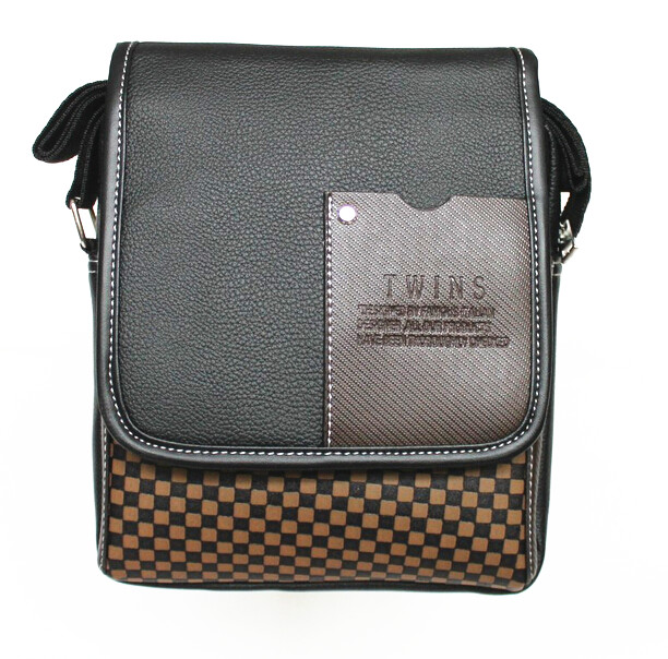 5) TEXU Mens Faux Leather messenger bag black plaid patchwork design men bag shoulder<br>