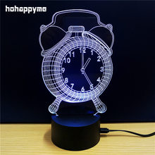 Creative Alarm Clock Acrylic LED Sign 7 Colors Changing Funny Office Desk Decoration Lamp Neon Sign Decorative Plaque Home Decor(China)