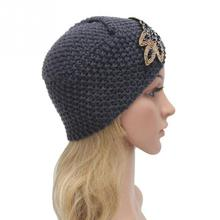 Spring Winter Fashion Caps Warm Knitted Hats For Women Rhinestone Flowers Beanies