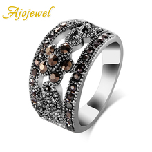 Ajojewel #6-10 Best Selling Fashion Jewelry Black CZ Flower Vintage Retro Ring Women(China)