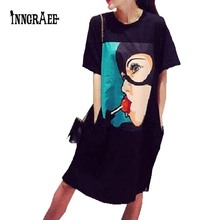 2016 Fashion Lollipop mori girl print funny emoji pocket side split plus size work fashion skater tee tshirt dress NS1707