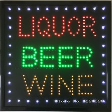 2017 New design led liquor beer wine store drinking bar neon open sign 19x19 inch graphics indoor ultra bright of led(China)