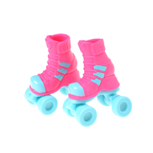 1 Pair Platic Pink Snow Boots Shoes Skating Sport Shoes For Doll Accessory Baby Gift 2.8cm