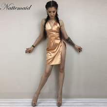 NATTEMAID Summer Women halter neck irregular cut out  Mini dress satin Silk dresses Sexy side split bodycon vestidos whole