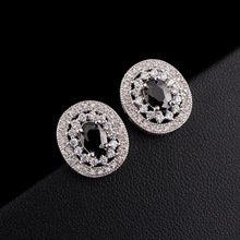Vintage Women's Stud Earrings CZ Black Royal King Crown Round Earring Studs For Female 5 colors Selection jewelry