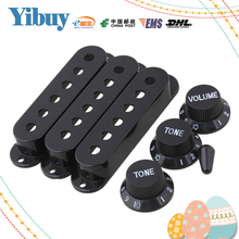 Yibuy Black Guitar Parts Set Switch tip Single coil Pickup Cover 1 volume 2 Tone Knobs