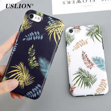 USLION Cartoon Leaf Case For iPhone 7 7 Plus Fashion Green Leaves Mobile Phone Cases Soft IMD Back Cover Case Coque Fundas(China)