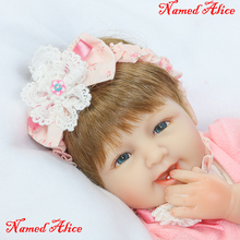 Bebe Silicone reborn baby doll toys lifelike 40cm reborn babies named Alice girl doll kids child birthday gift girl  boneca