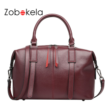 ZOBOKELA Genuine leather bags female women bags boston tote bag Luxury handbags women designer messenger crossbody bags