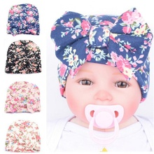hat 2017 Newborn Baby Hats With Flower Bowknot Flower Hospital Hat Cotton baby bonnet baby cap newborn photo props
