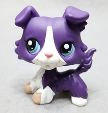 Genuine Original Littlest Dog Figure #1676 Collie Purple White Blue Eyes Collectible Pet Toys Loose Doll Shop for Kids Gift(China)