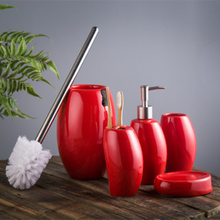 Fashion brief ceramic bathroom set of five pieces bathroom supplies kit dental shukoubei wash set Soap dish Toothbrush holder