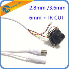Viewing Angle 2.8mm mini lens cctv camera 800tvl 1/3 inch HD IR-CUT COMS camera 32/38 board chip + 3.6mm lens + cable