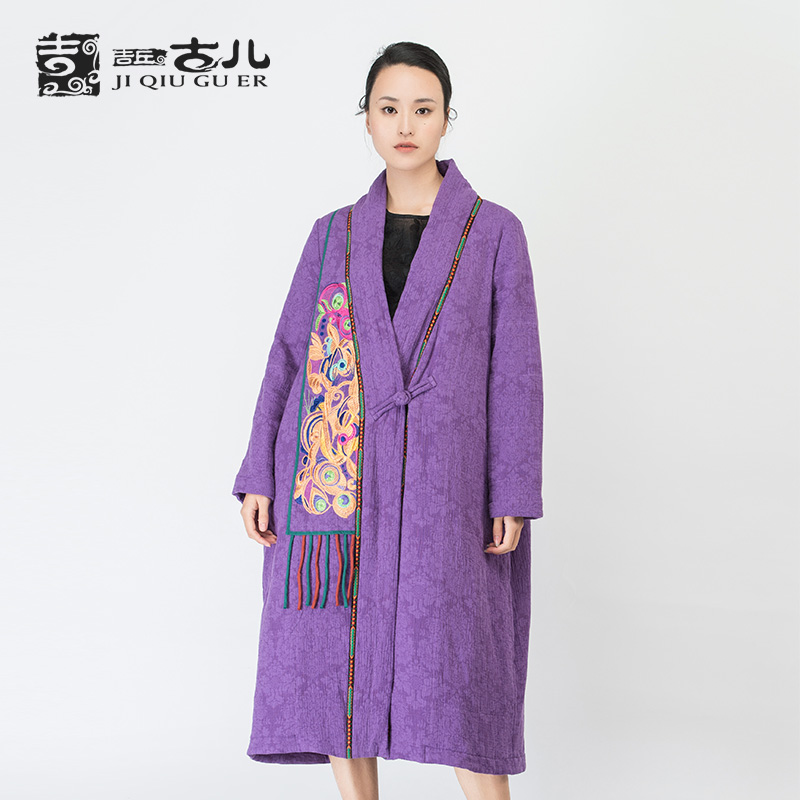 Jiqiuguer Brand Women Vintage Patch Design Purple Coat Embroidery Loose Stand Collar Cotton Jackets for Ladies G164Y015Одежда и ак�е��уары<br><br><br>Aliexpress