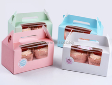 Free Shipping 300pcs/lot Card Paper Party Cupcake boxes, Cake Packaging Boxes holder 2pcs cupcake with handle muffin box